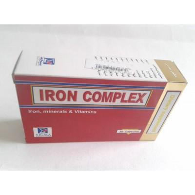 IRON COMPLEX 30 capsules ( Iron peptonate 100 mg - vit. c,B1,B2,B3,B6,B12 - folic acid )