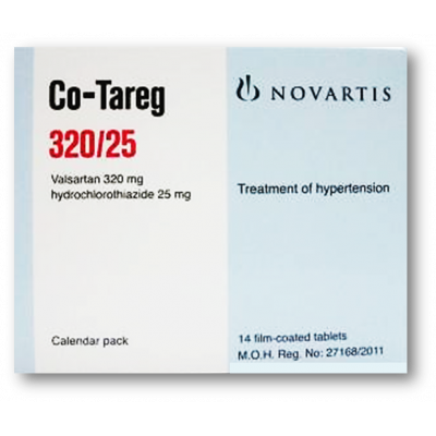 CO - TAREG 320 / 25 MG ( VALSARTAN + HYDROCHLOROTHIAZIDE ) 14 FILM-COATED