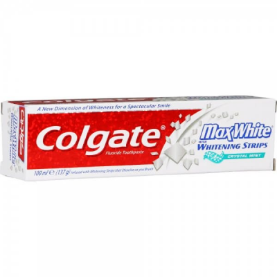 COLGATE MAX WHITE FLUORIDE TOOTHPASTE WITH WHITENING STRIPS CRYSTAL MINT 100 ML