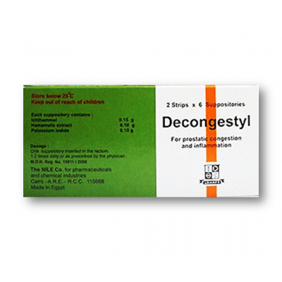 DECONGESTYL ( HAMAMELIS EXTRACT 0.10 GM + ICHTAMMOL 0.15 GM + POTASSIUM IODIDE 0.10 GM ) 12 SUPPOSITORIES