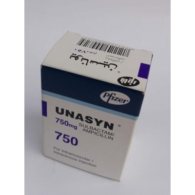 UNASYN ( sulbactam + ampecillin ) 750 mg  1 vial for intramuscular or intravenous injection
