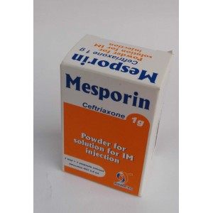 Mesporin ( ceftriaxone 1 g ) powder for solution for IM injection