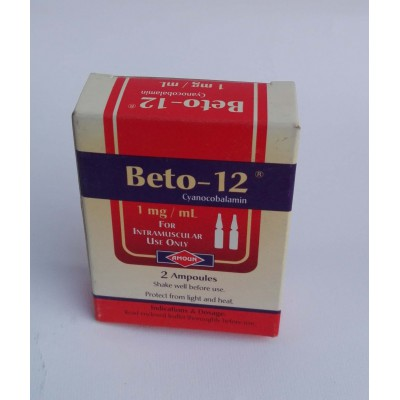 Beto -12 ( cyanocoblamin 1 mg / ml ) for injection intramuscular only 2 ampoules