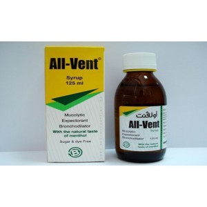 All-Vent ( bromhexine + terbutaline sulphate + guaifenesin + menthol ) syrup 125 ml