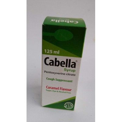 Cabella ( pentoxyverine citrate ) syrup 125 ml cough suppressant