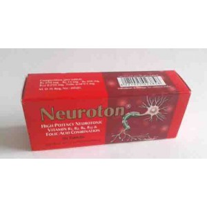 Neuroton 30 tablets high potency neurotonic vitamin B1 , B2 , B6 , B12 , AND FOLIC ACID COMPINATION