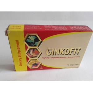 Ginkofit 10 capsules (  royal jelly + ginko biloba leaf extract + ginseg root extract )