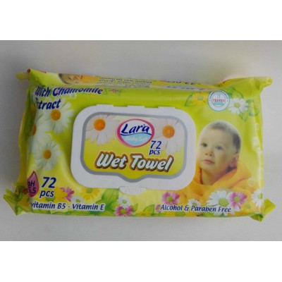 lara wet towel wipes chamomile 72 pieces