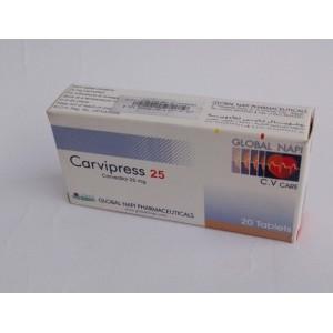 Carvipress ( carvedilol 25 mg ) 20 tablets