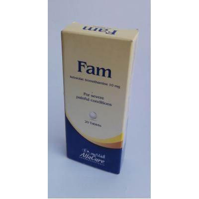 Fam ( ketrolac tromethamine 10 mg ) 20 tablets
