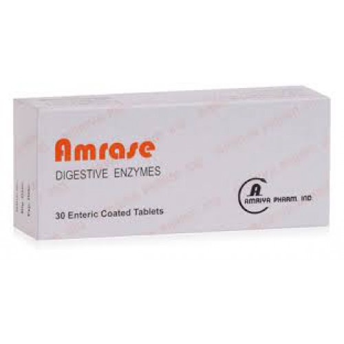 Amrase (pancreatin + papain + Ox bile extract ) 30 enteric coated tablets