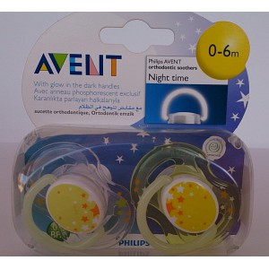 avent 0-6m orthodontic pacifiers 2pieces night time