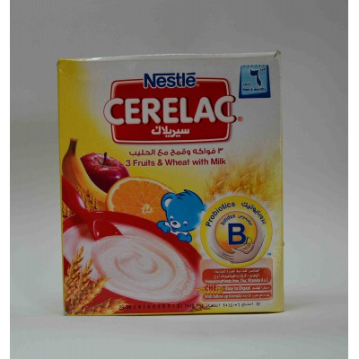 cerelac 3 fruits& wheat with milk stage one from 6 months on wards 200 gm