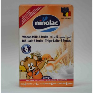 ninolac- wheat  -5 fruits milk baby cereal from 6 months 200 gm