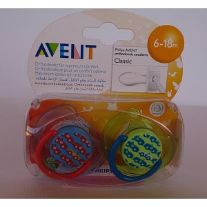 avent classic orthodontic  soother 2pieces 6-18m