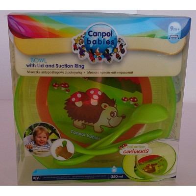 canpol babies  bowl with lid and suction ring with spoon 9m+