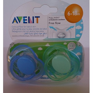 avent  orthodontic  soothers free flow 6-18m