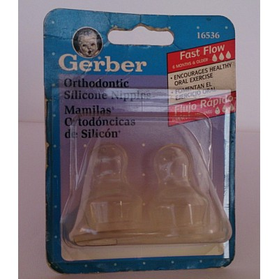gerber orthodonitic silicone nipples fast flow 2pieces 6m+
