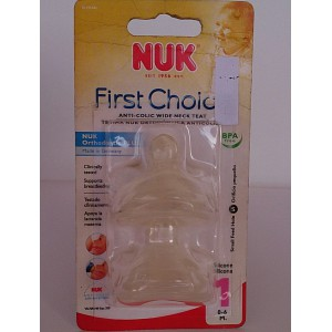nuk anti colic wide neck teat 2pieces stage two 0-6m