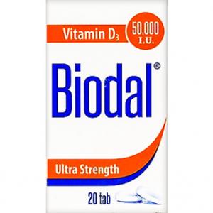 Biodal Vitamin D 3 Ultra strength 50.000 IU ( Cholecalciferol ) 20 Tablets