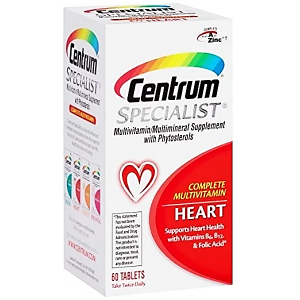Centrum ® Specialist Heart Complete Multivitamin / Multimineral Supplement with Phytosterols  60 tablets