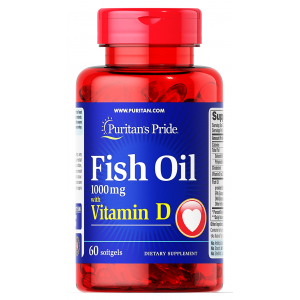 Fish Oil 1000 mg with Vitamin D Puritan's pride 60 sofgels / capsules