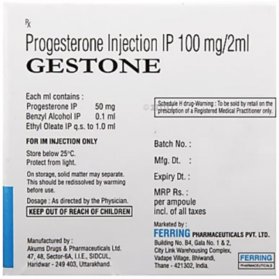 Gestone 100 MG Injection ( Progesterone ) 10 Ampoules