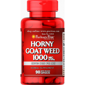 Horny Goat Weed 1000 mg Puitan's Pride Exotic Herb For Men ( Epimedium spp. ) 90 capsules