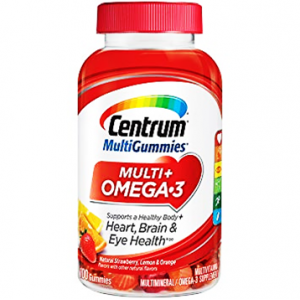 Centrum ® MultiGummies Multi + Omega - 3 MultiVitamin  Supports a Healthy Body + Heart + Brain & Eye Health  100 gummies ( Natural Strawberry , Orange & Lemon Flavors )