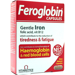 Feroglobin Gentle Iron Capsules  Folic Acid Vitamin B 12  30 slow released Capsules