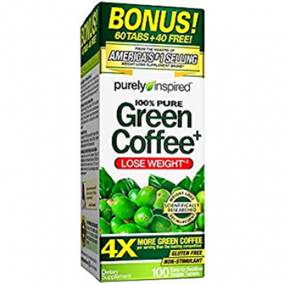 GREEN COFFEE 100 % PURE PURELY INSPIRED  4 X MORE GREEN COFFE  lOSE WEIGHT 100 tablets