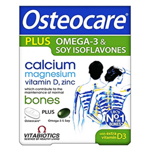 Osteocare Plus Omega - 3 & Soy Isoflavones  Calcium Magnesium Vitamin D Zinc  Maintenance of Normal BONES 56 tablets 28 capsules