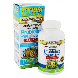 PROBIOTICS Weight Loss 100 % Pure Purely Inspired  ( green coffee + 1 billion probiotics + Green Tea + Garcinia Cambogia + 19 vitamins & minerals )  84 chewable tablets
