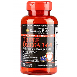 Triple Omega 3 - 6 - 9 Maximum Strength Puritan's Pride ( Active Omega 3 ) 60 softgels / capsules