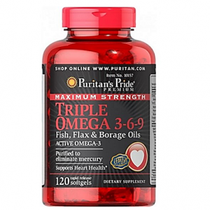 Triple Omega 3 - 6 - 9 Maximum Strength Puritan's Pride ( Active Omega 3 ) 120 softgels / capsules