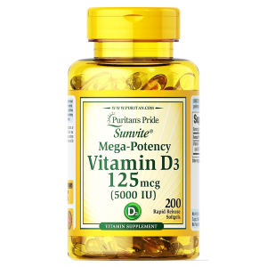 VITAMIN D3 5000 IU Sunvit Mega-Potency Puritan's Pride for Immune System Support and Healthy Bones and Teeth ( Cholecalciferol 125 mcg ) 200 softgels