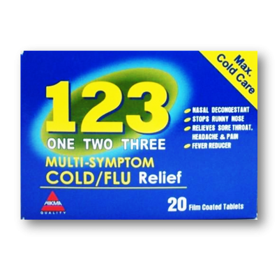 1 2 3 One Two Three Cold Flu Relief ( paracetamol + chlopheniramine maleate + pseudo-ephedrine ) 20 film-coated tablets