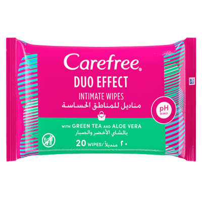 CAREFREE ® DUO EFFECT INTIMATE WIPES WITH GREEN TEA AND ALOE VERA 20 wipes