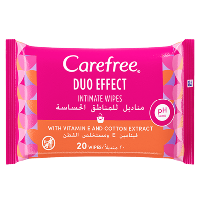 CAREFREE ® DUO EFFECT INTIMATE WIPES WITH VITAMIN E AND COTTON EXTRACT 20 wipes