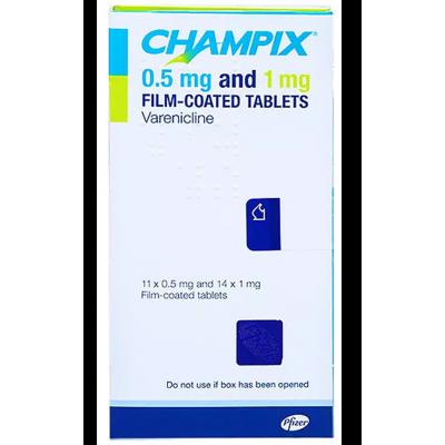 CHAMPIX 0.5 mg and 1 mg ( varenicline ) film-coated tablets 11x 0.5 mg & 14 x 1 mg film-coated tablets