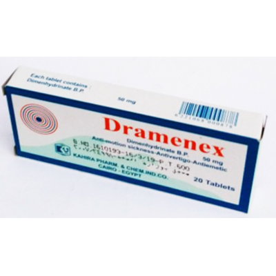 Dramenex 50 mg ( dimenhydrinate ) 20 tablets