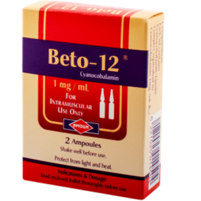 Beto - 12 1mg / ml ( Cyanocobalamin ) Intramascular Injection 2 ampoules