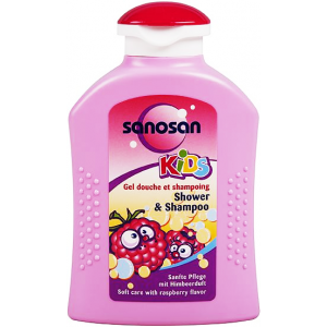 SANOSAN KIDS SHOWER & SHAMPOO WITH RASPBERRY FLAVOR 200ML