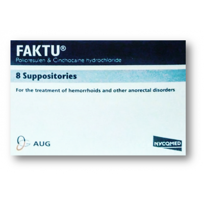 FAKTU ( CINCHOCAINE 10 MG + POLICRESULEN 50 MG ) 8 SUPPOSITORIES