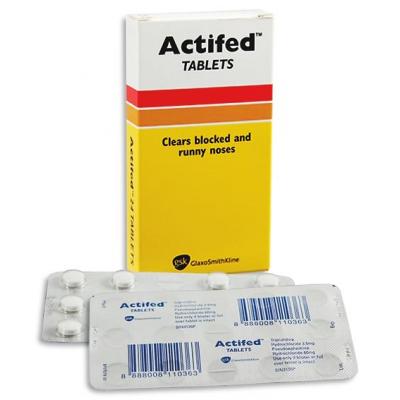 Actifed tablets ( pseudoephedrine + triprolidine ) 12 tablets