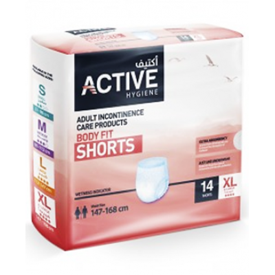 Active Hygiene  Adult Incontinence Care Products  Body Fit Shorts  14 pieces XL  Waist Size 147 - 168 cm