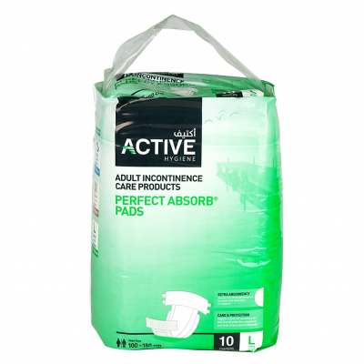 Active Hygiene  Adult Incontinence Care Products  Perfect Absorb Pads  10 pieces Large  Waist Size 100 - 150 cm