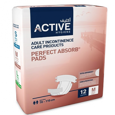 Active Hygiene  Adult Incontinence Care Products  Perfect Absorb Pads  12 pieces Medium  Waist Size 70 - 110 cm