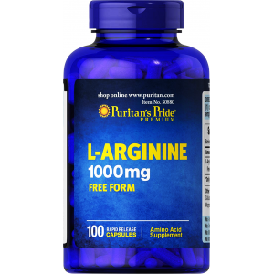 L - Arginine 1000 mg Puritan's Pride Free Form   Amino Acid Supplement  100 capsules