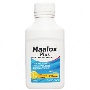 Maalox Plus ( aluminium hdroxide + magnesium hydroxide + simethicone ) 180 suspension